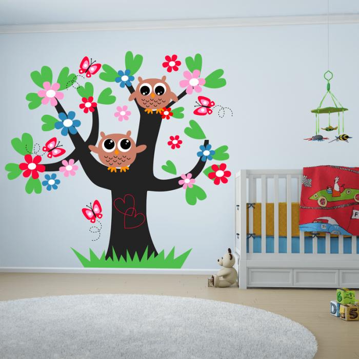 Simulacion vinilo arbol infantil con buhos