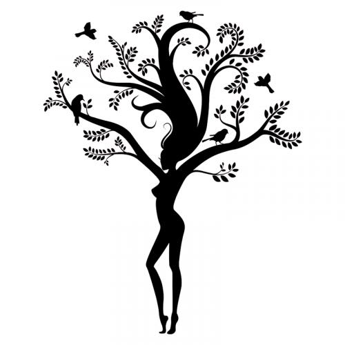 vinilo arbol tronco de mujer