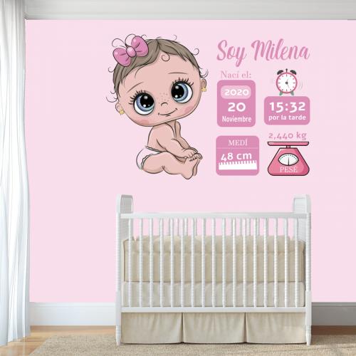 Simulacion montaje vinilo nacimiento niña