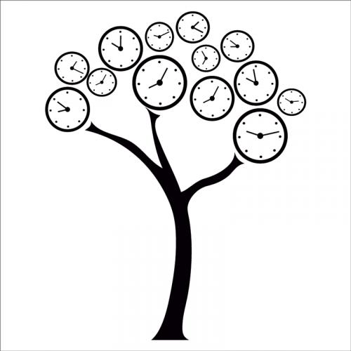 vinilo árbol relojes