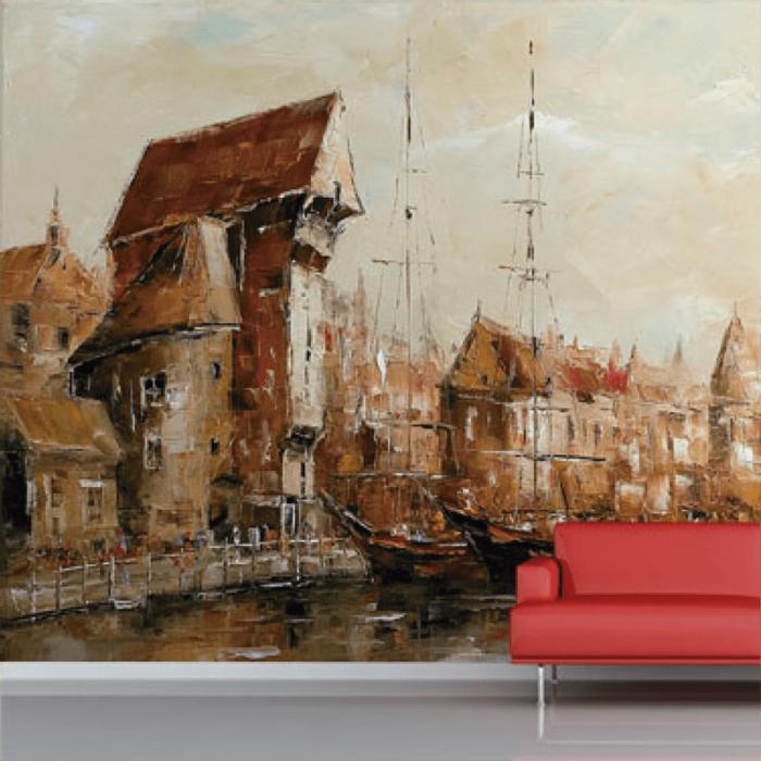 Simulacion colocacion mural cuadro con barcas