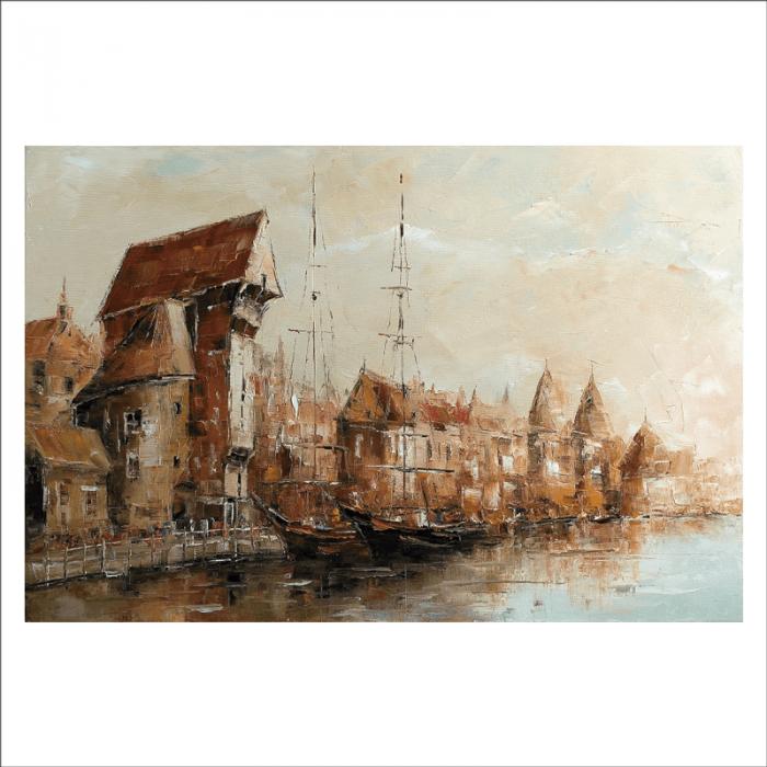 Mural cuadro con barcas