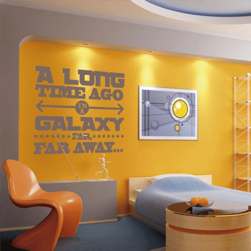 Simulacion sobre pared vinilo star wars