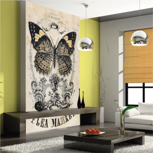 Simulacion papel pintado mariposa vintage
