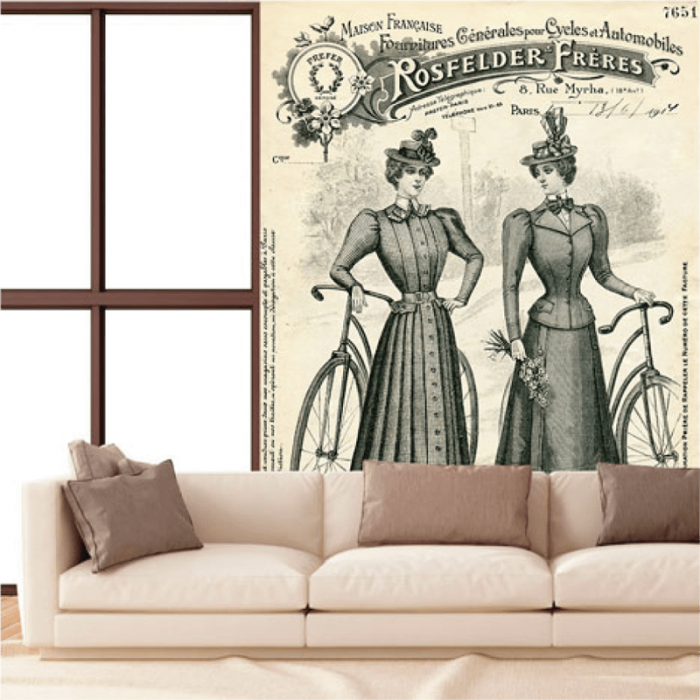 Simulación mural vintage mujeres y bicicleta