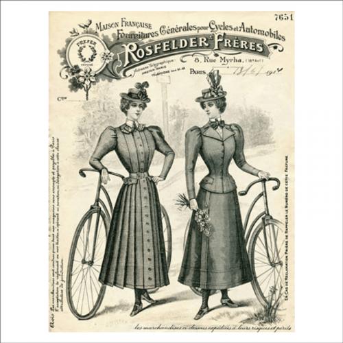 Mural vintage mujeres y bicicleta