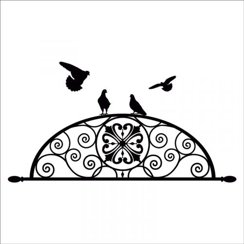 Vinilo cabecero ovalado con palomas