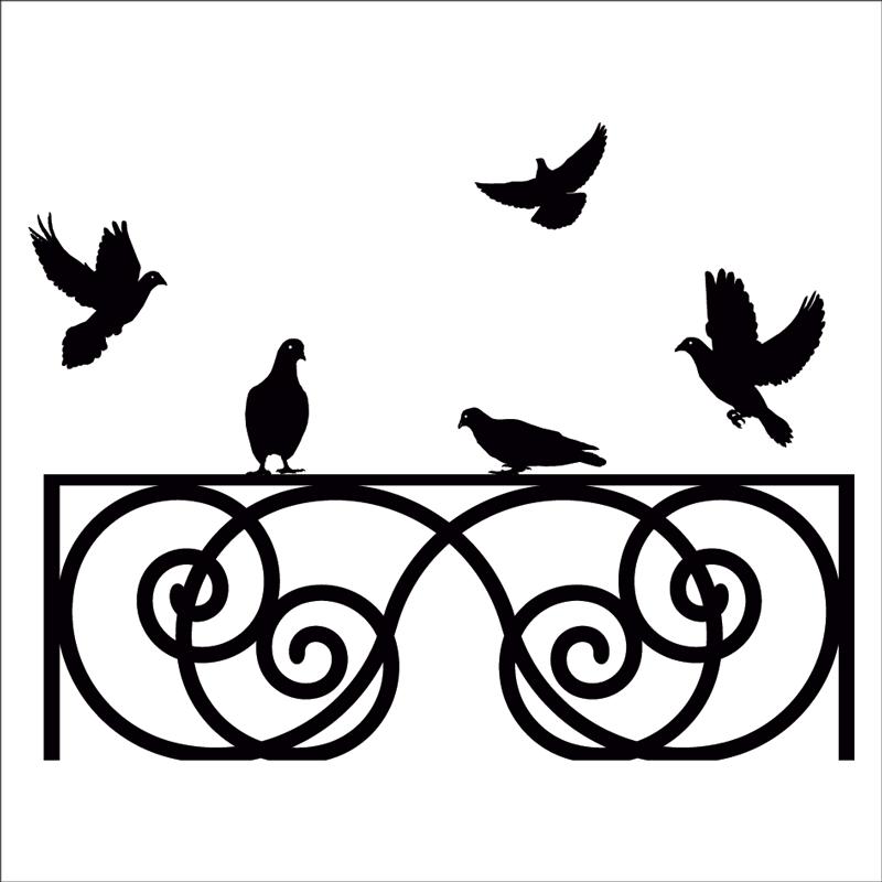 Vinilo cabecero palomas