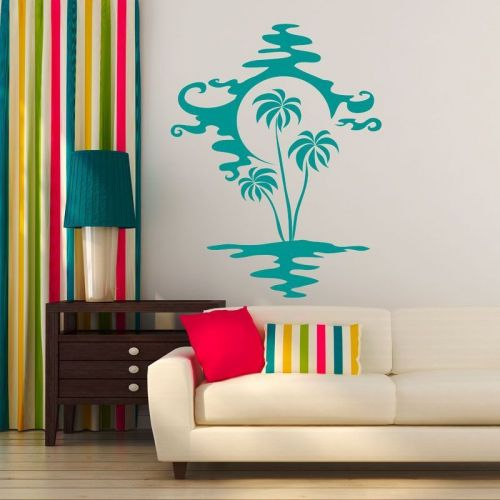 Simulacion vinilo isla con palmeras