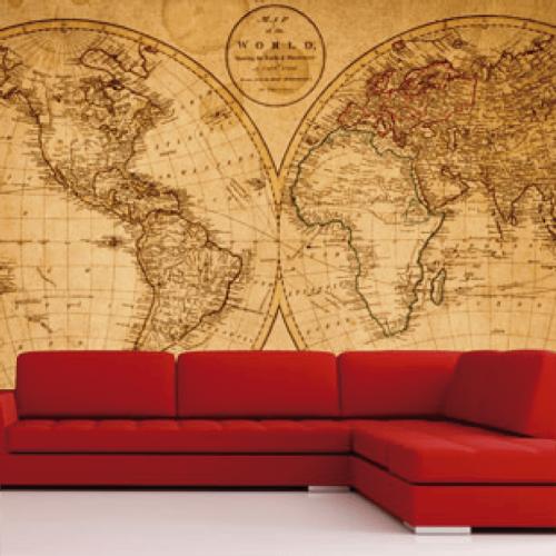 simulacion mural mapamundi para pared