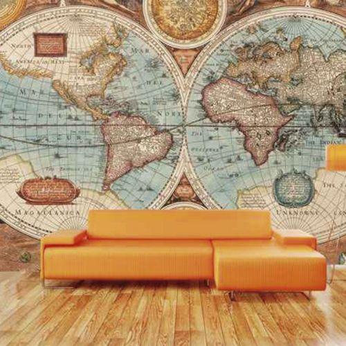 Simulacion sobre pared mapa del mundo