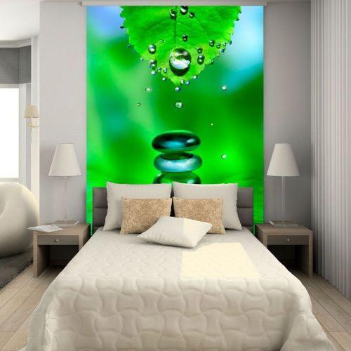 Simulacion mural hoja y piedras zen