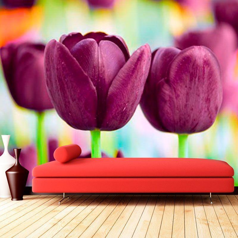 Cimulacion mural tulipanes morados