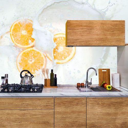 Simulacion fotomural naranjas en leche