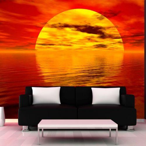Simulacion mural puesta de sol en el mar