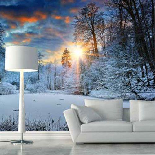 Simulacion fotomural paisaje nevado