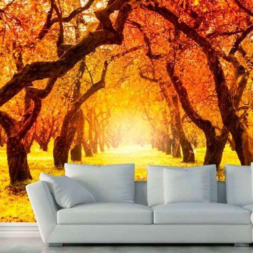Simulacion colocacion mural con foto bosque en otoño