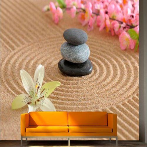 Simulacion jardin zen con flor