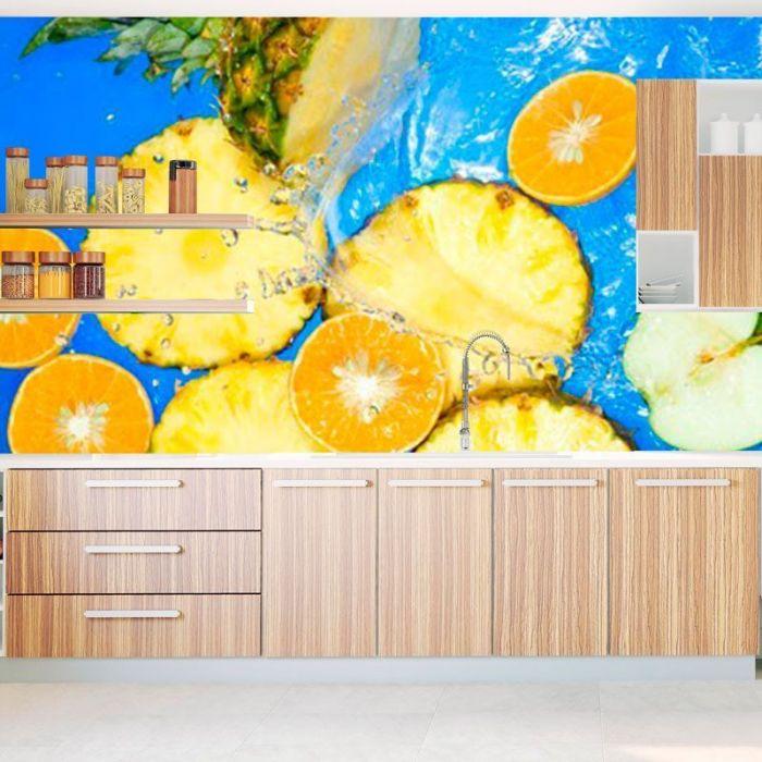 Simulacion fotomural papel pintado frutas