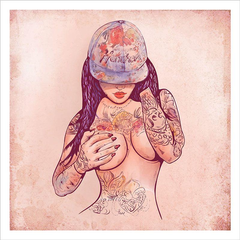 paredes con graffitis chica tatuada