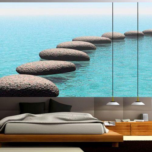 Simulacion mural piedras flotantes