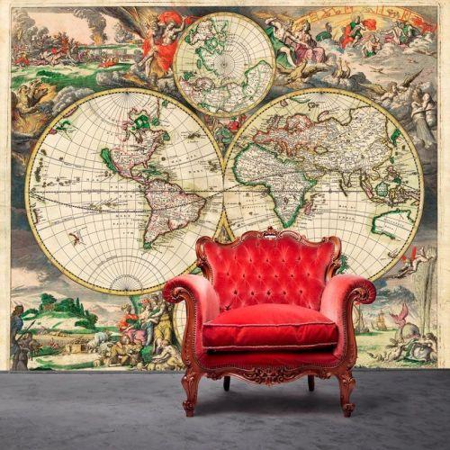 Simulacion mapa mundi antiguo