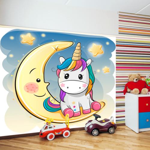 Simulacion mural unicornio sobre la luna