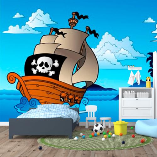 Simulacion fotomural infantil barco pirata