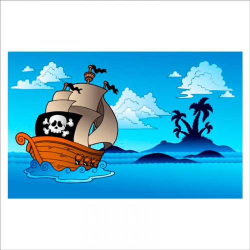 fotomural infantil barco pirata