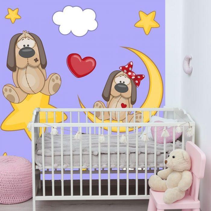 Simulacion mural infantil perritos enamorados