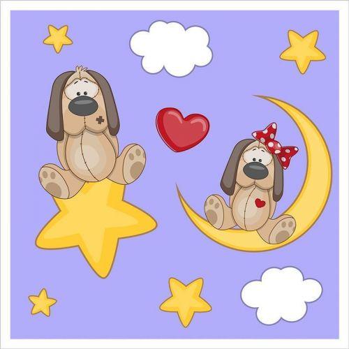 Mural infantil perritos enamorados