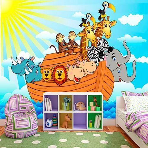 Simulacion mural infantil arca de Noe