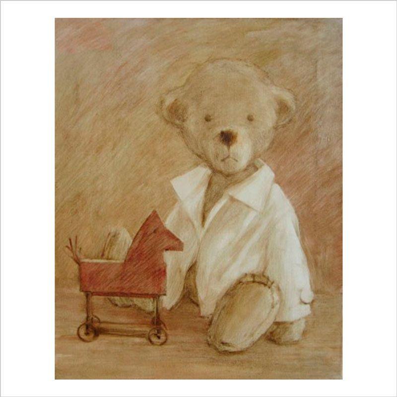 Papel de pared infantil teddy y el caballo