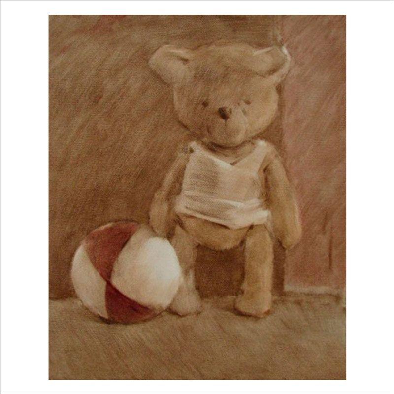 Papel pared infantil teddy y la pelota