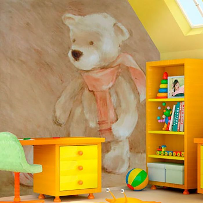 Simulacion mural Teddy con bufanda