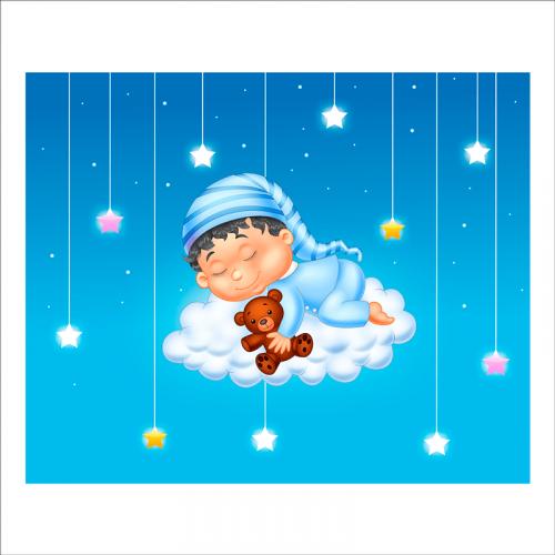 papel pintado intantil durmiendo en la nube