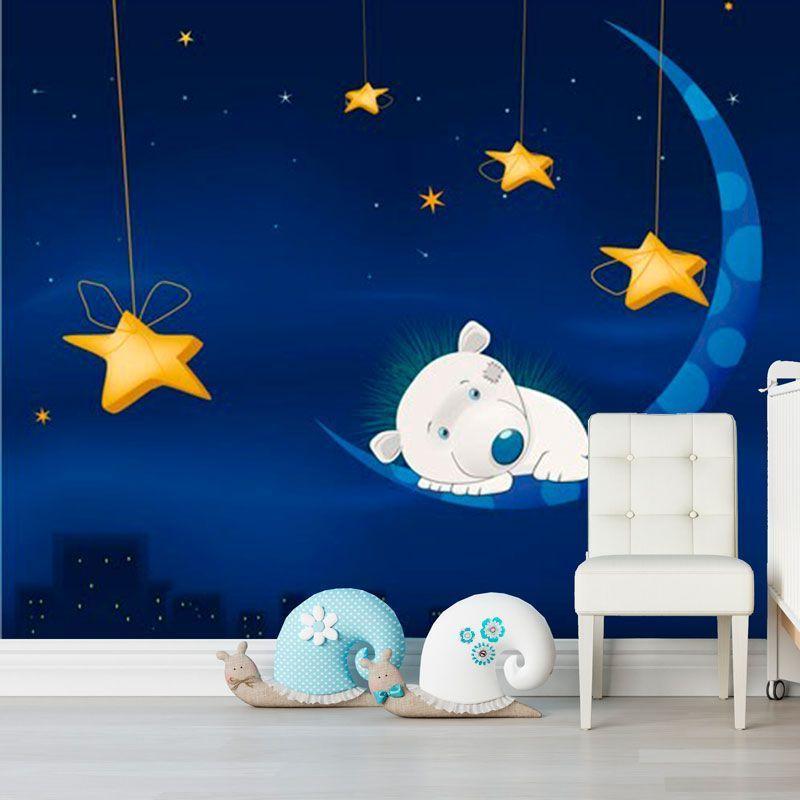 Simulacion mural osito durmiendo en la luna