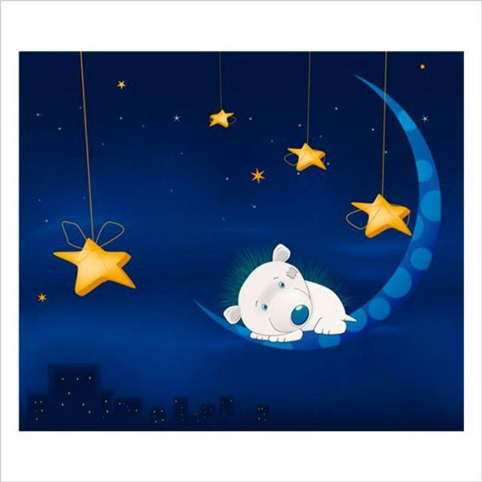 papeles para paredes infantiles osito durmiendo en la luna