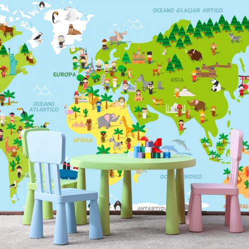 Simulacion vinilo mapa mundi infantil