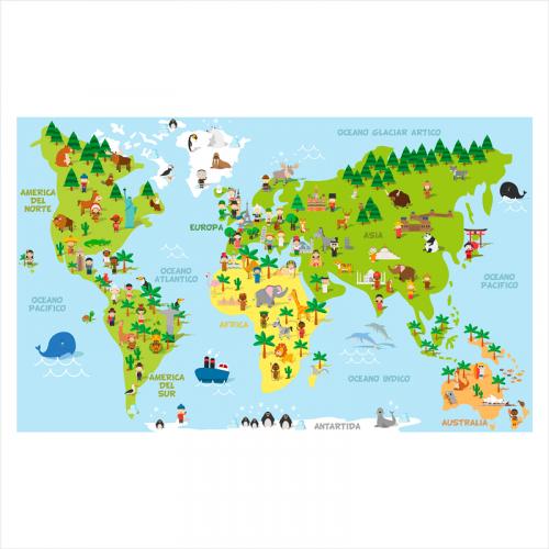 Fotomural de vinilo mapamundi infantil