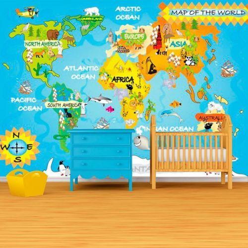 Simulacion mural mapa del mundo