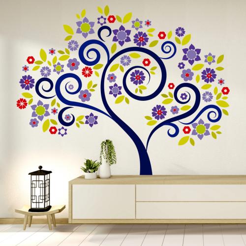 Simulacion vinilo arbol con flores de colores