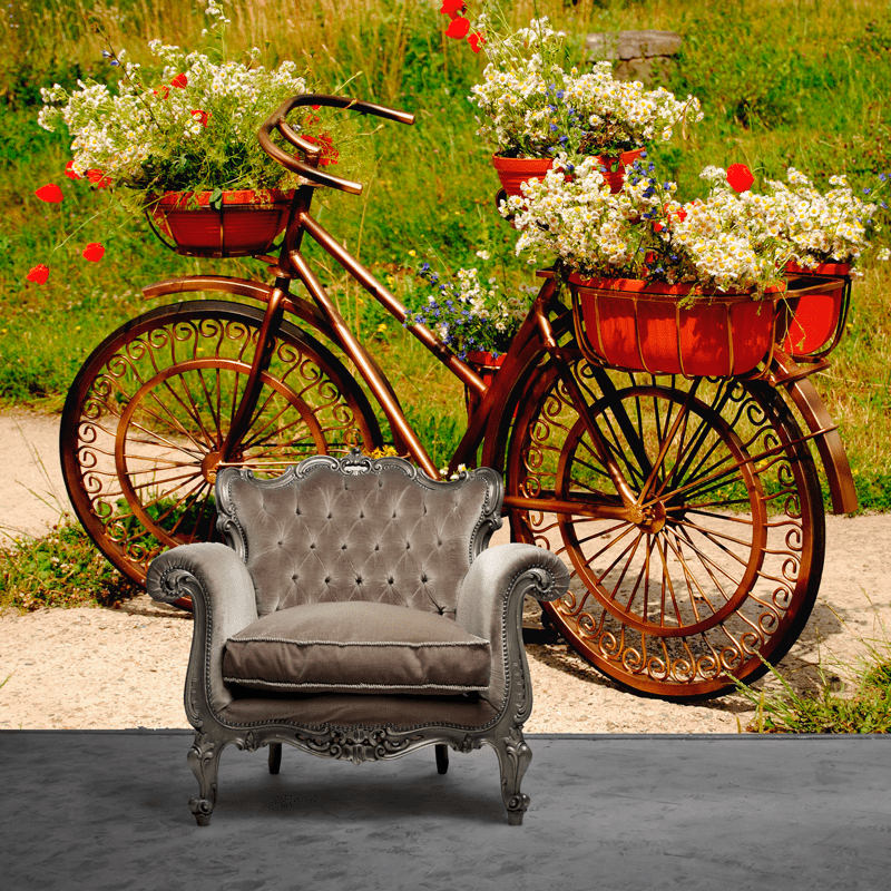 Simulación mural bicicleta antigua