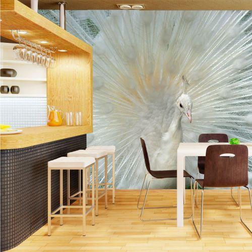 Simulacion colocación mural pavo real blanco