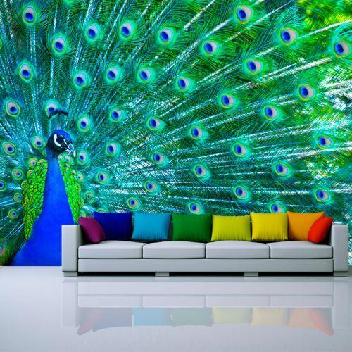Simulación mural pavo real
