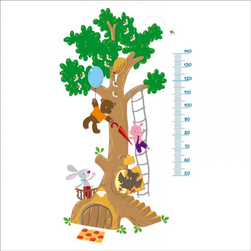 medidor altura niños de vinilo con forma de arbol