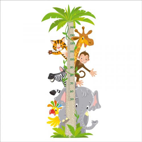 medidor niños pared animales selva