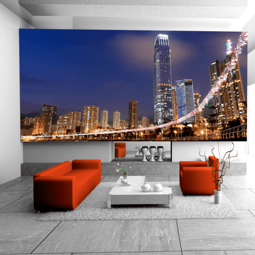 Simulación Hong Kong de noche