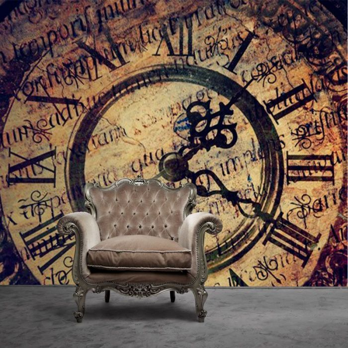 Simulacion mural antiguo reloj