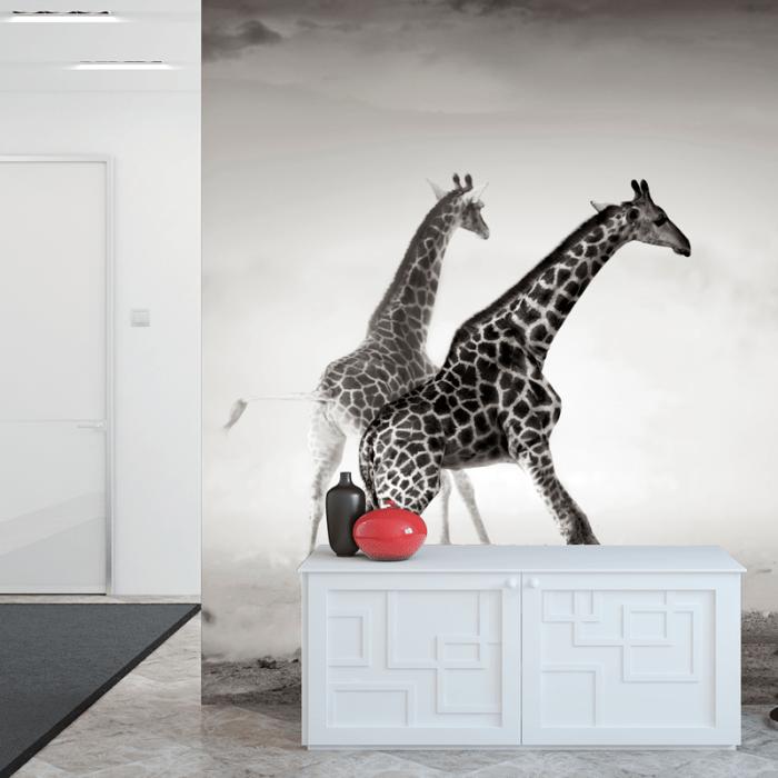 Simulación mural jirafas en blanco y negro